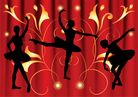Silhouettes of three ballerinas dancing on a background of red curtains and golden colors.  Vector