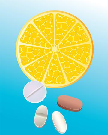 orange cut: Corte naranja y tabletas en un background.vektor azul.