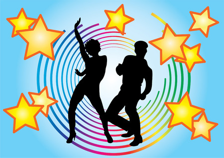 The dancing couple and colored circles on a blue background.