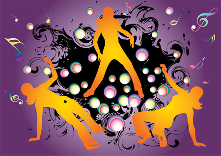 hip hop and break dance silhouettes an abstract purple background.  Vector