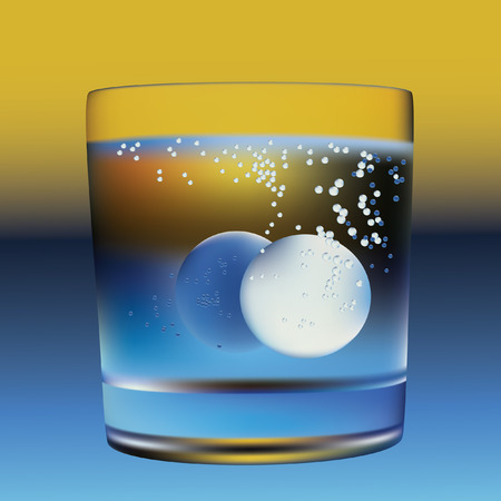 effervescent: The tablet in a glass of water. Vector.