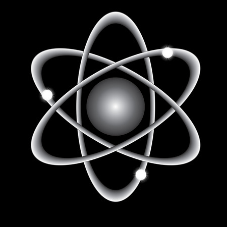 atomic symbol: abstract atom on a black background.