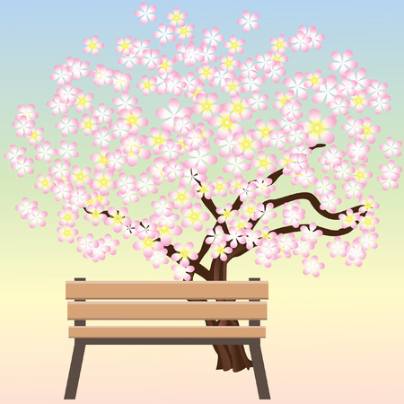 Bench and flowering trees. Vector