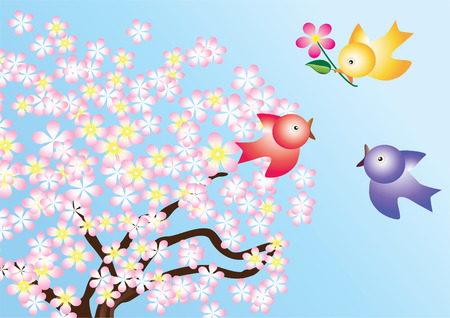 Three birds with a flower on the background of a flowering tree. Vector