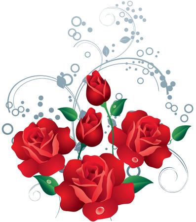Red roses with drops of dew and ornament