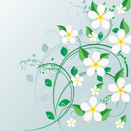 branch to grow up: Ornament with a green branch and flowers Illustration