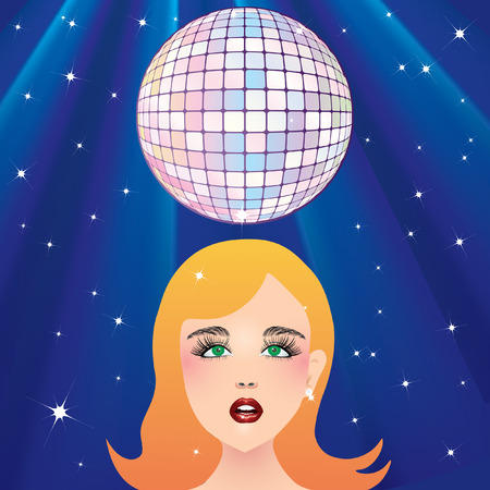Disco ball and the girls face. Vector