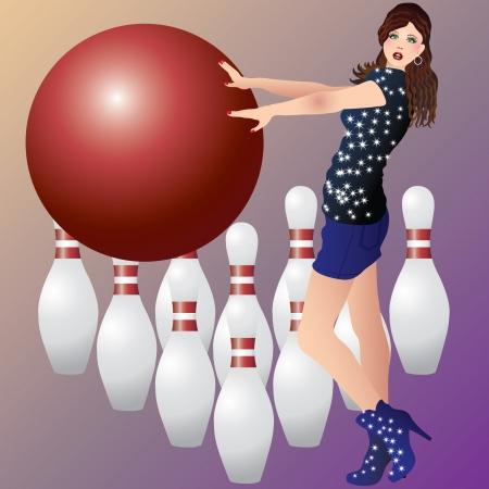 hair pins: A girl and bowling.