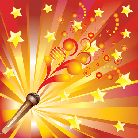 star power: Abstract background with a microphone.