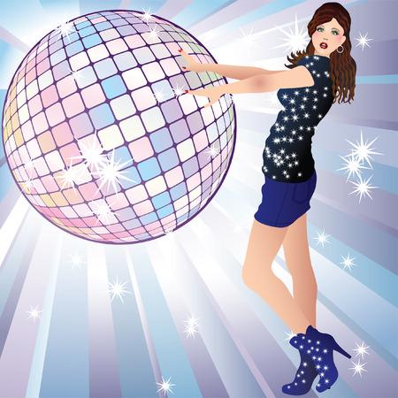 girl and a disco ball. Vector