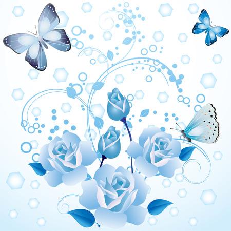 tekening vlinder: Blue roses and butterflies.
