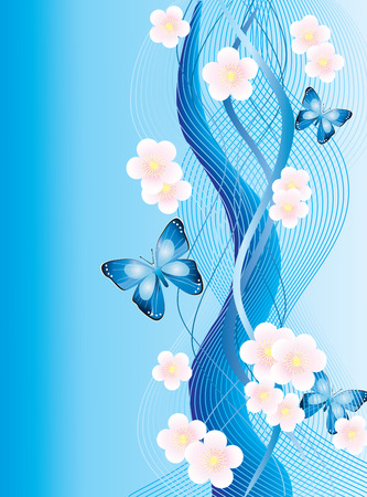 Abstract background with butterflies and flowers. Vector