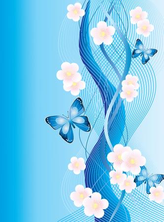 dibujos de flores: Fondo abstracto con mariposas y flores.
