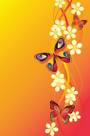Fondo con flores y mariposas.