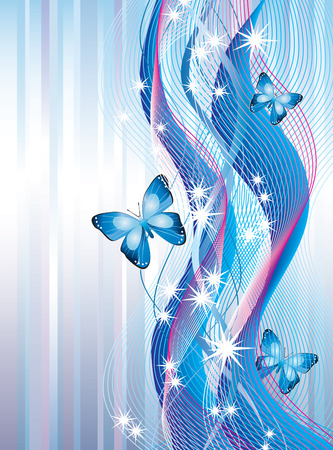 pink ribbons: Background with butterflies