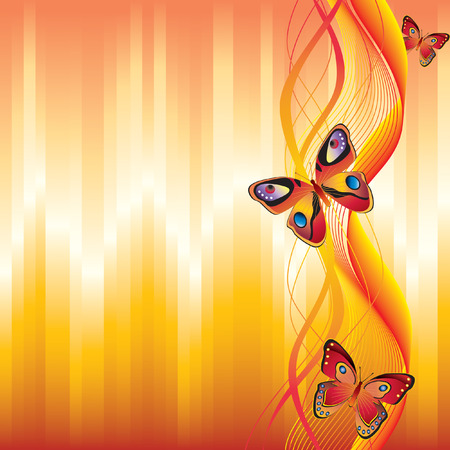 yellow ribbon: Background with butterflies