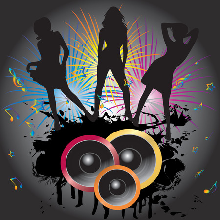 The dancing girls and fireworks. Stock Vector - 7016749