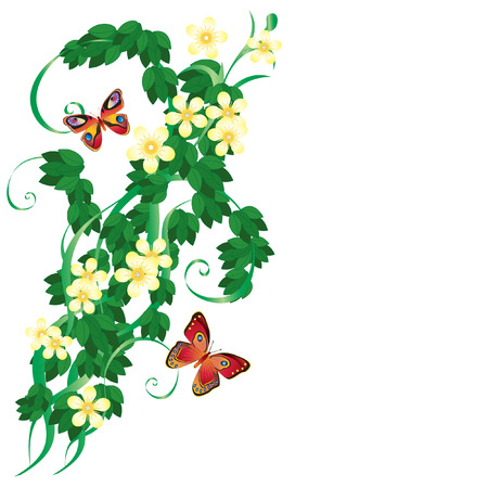 autonomic: Soprammobile con foglie e farfalle.  Vettoriali