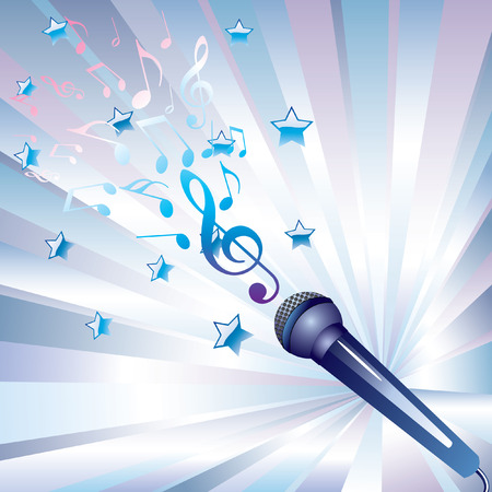 mic: microphone and musical notes. Illustration