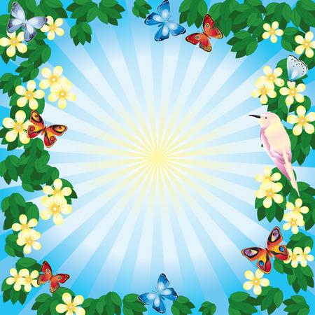 Flower frame with butterflies. Vector
