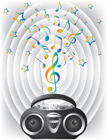 Audio mini-system, radio, player Stock Vector - 7054740