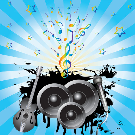 Abstract background with speakers, a guitar and a microphone. Vector