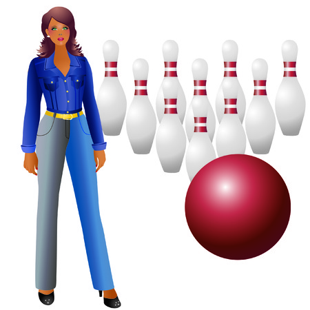 A girl and bowling. Stock Vector - 7133525