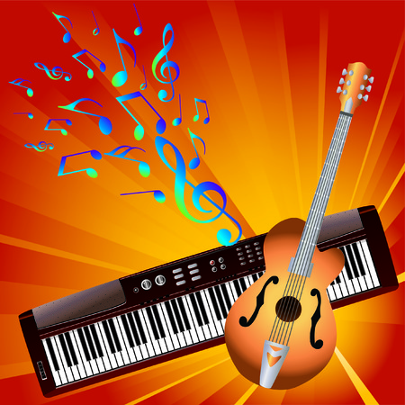 Musical notes and instruments. Stock Vector - 7133529