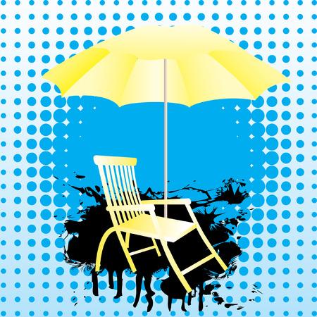 yellow umbrella: Yellow umbrella and deckchair.