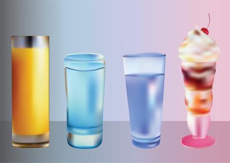 coolness: Drinks and ice cream. Illustration