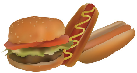 synopsis: Hamburgers and hot dogs. Illustration