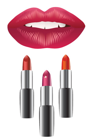 Lips and lipstick. Stock Vector - 7260220