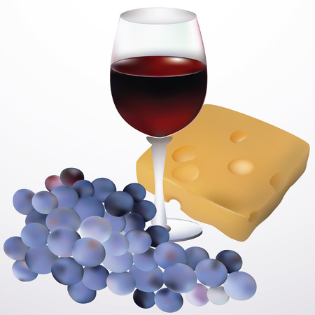 Wine, cheese and grapes. Vector
