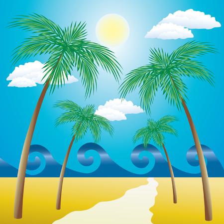 Landschaft mit Palmen. Vektorgrafik