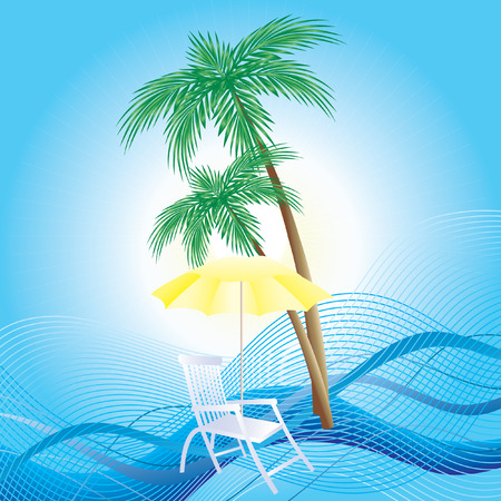 chaise: Chaise longue, umbrella and palm trees.