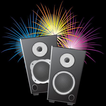 fiestas electronicas: Columnas musicales y fuegos artificiales.