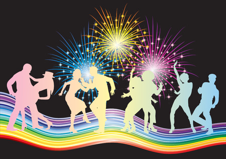 Dancing couples and fireworks. Illustration