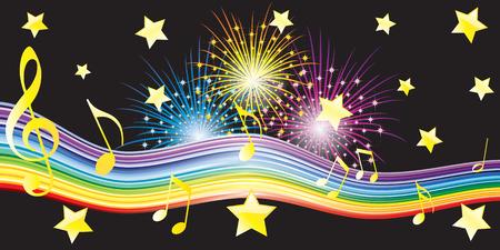 Musical notes, stars and fireworks. Ilustração