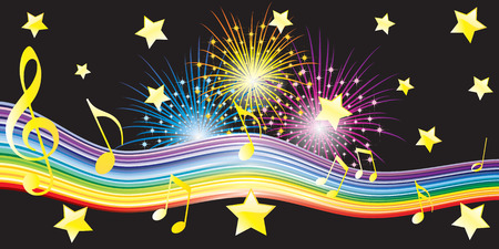 Musical notes, stars and fireworks. Illustration