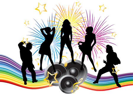Fawn with the dancers. Stock Vector - 7687533