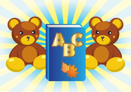 Teddy bear and book. Vector
