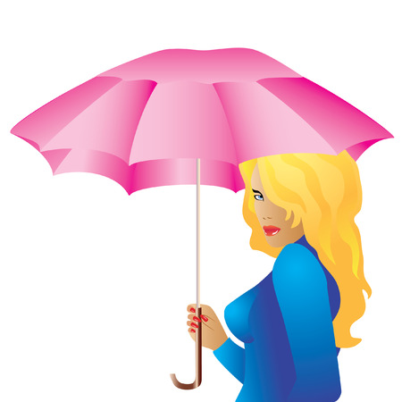 The girl with the umbrella. Vector