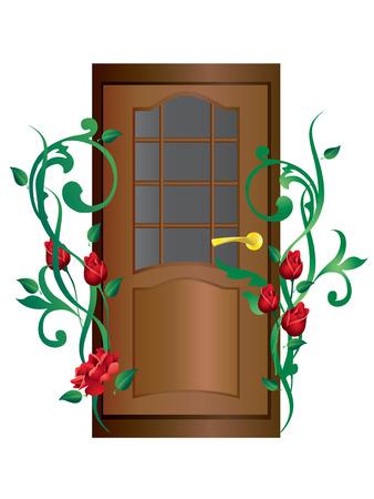 Door and roses. Stock Vector - 7896697