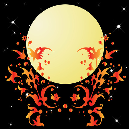 An abstract pattern and the moon. Vector