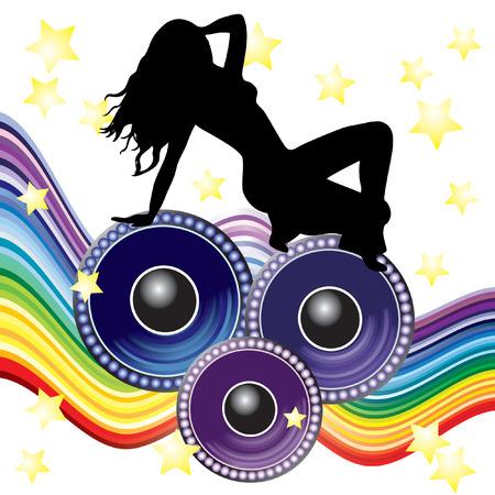 sound system: Bailarina y altavoces.  Vectores