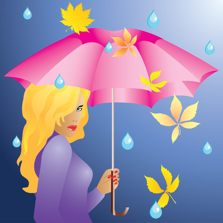 The girl and the rain. Vector