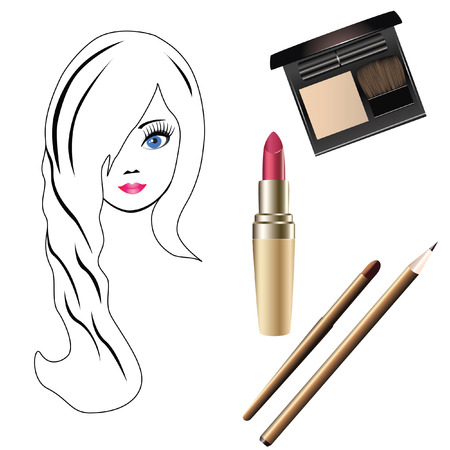 balsam: Girl and cosmetics.