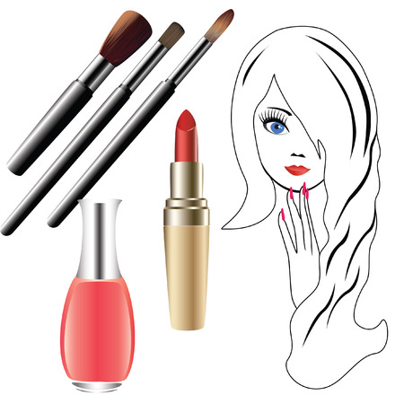 The girls face, and cosmetics. Vector