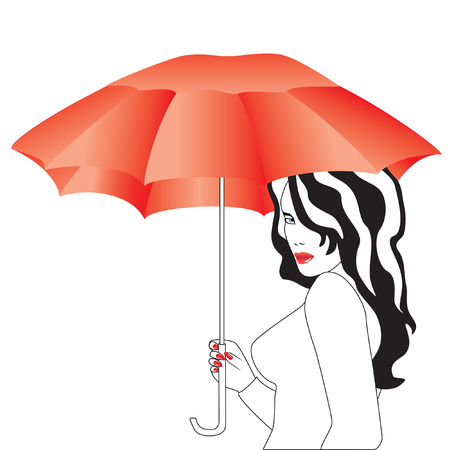 The girl with the umbrella. Stock Vector - 8008783