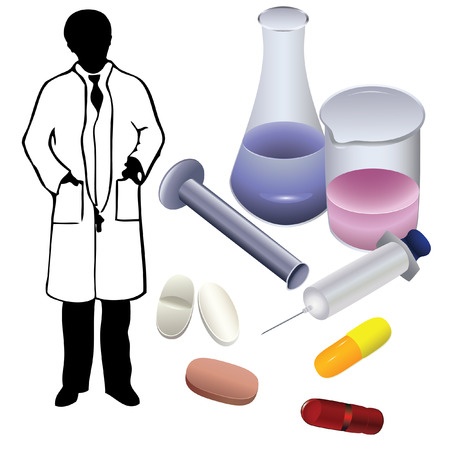 pharmaceuticals: Medications and the silhouette of a physician.